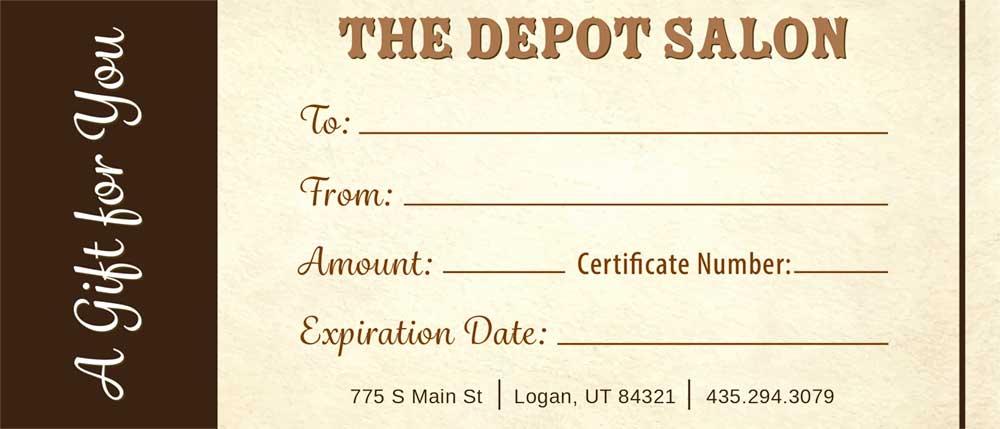 Gift Card The Depot Salon